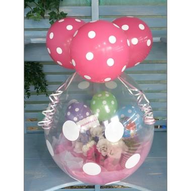 バルーンフラワーギフト水玉ピンク
