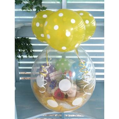 バルーンフラワーギフト水玉黄色