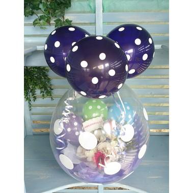 バルーンフラワーギフト水玉紫色